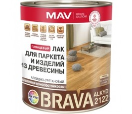 Лак BRAVA ALKYD 2122 для паркета и изделий из древесины (АУ-2122) бесцветный глянцевый 1,0л (0,7кг)